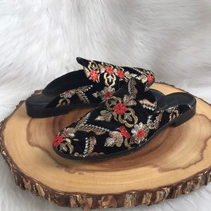 Free People Shoes - Free People embroidered velvet / leather mules